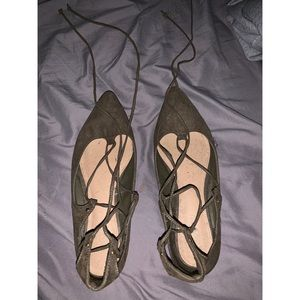 Olive Green Tie Up Flats Old Navy